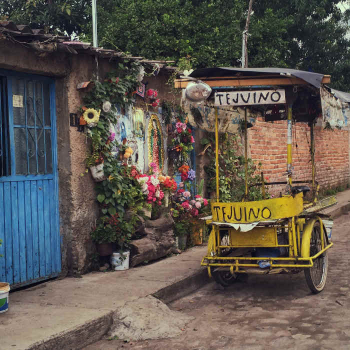 Tejuino cart in Nayarit - local fermented corn drink