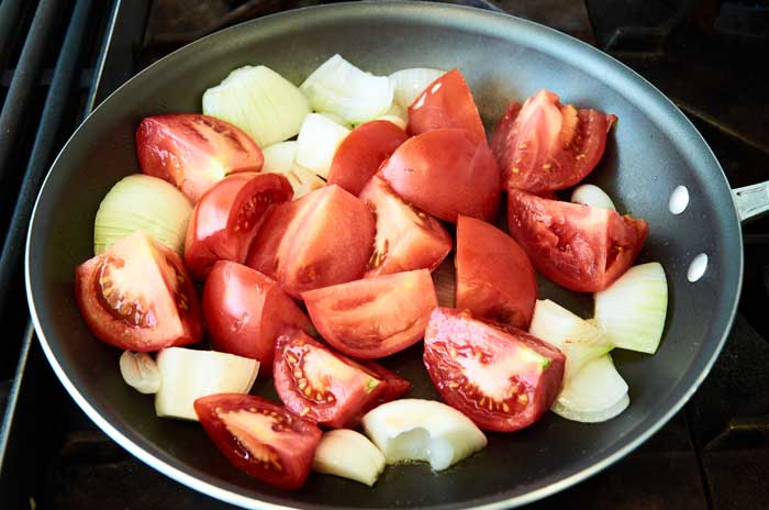 Frying Tomatoes and Onions