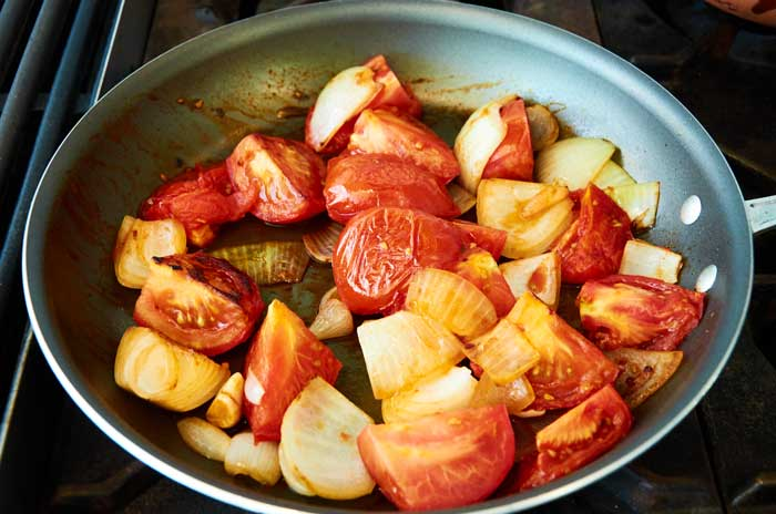 Pan Fried Tomatoes, Onions and Garlic