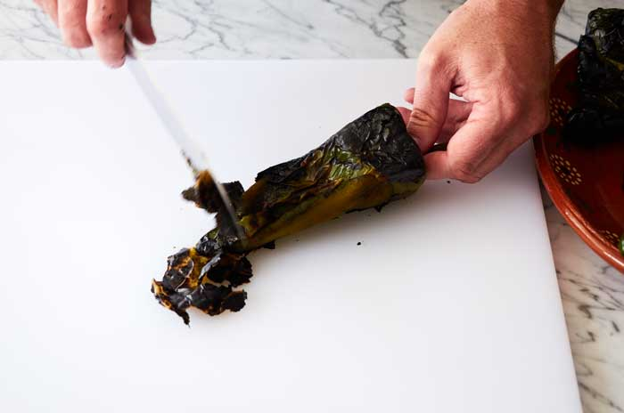 Removing the Skin from Poblano Chiles