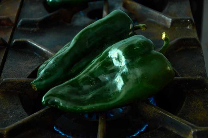 Roasting Poblano Chiles