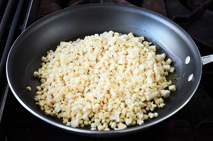 Sauteing White Corn Kernals