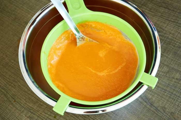 Straining Tomato Soup Base