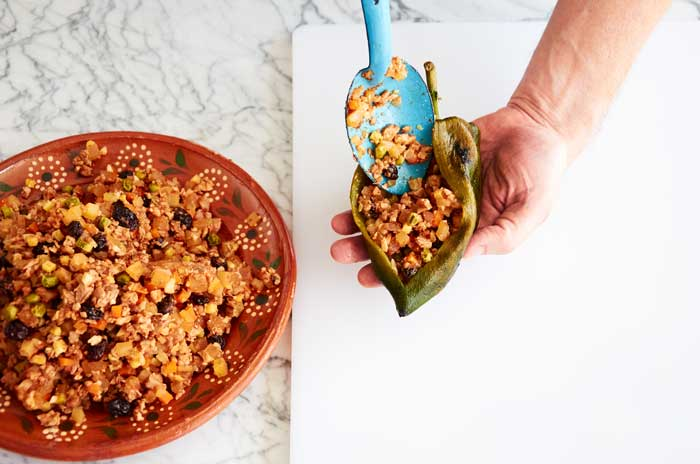 Stuffing Chile Poblano