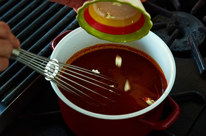 Adding Goat Cheese to Three Chile Sauce