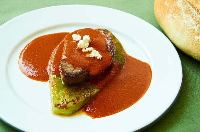 Beef Tenderloin with Three Chile Salsa on Cactus Pad