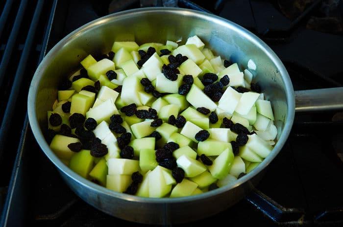 Chopped Chayote in Frying Pan