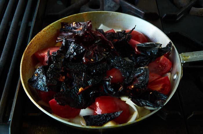 Cooking Chiles and Tomatoes for Sauce