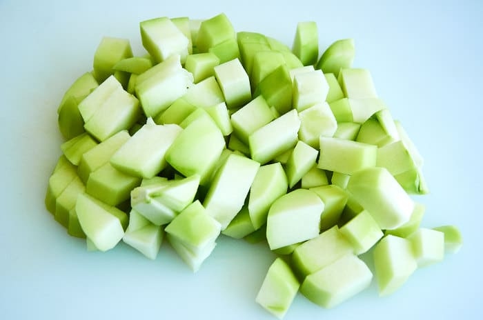 Cubed Chayote