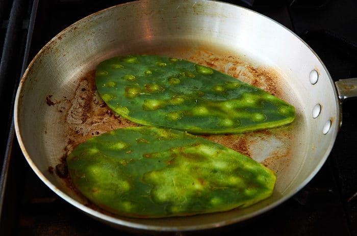 Pan Frying Cactus Pads (Nopal)