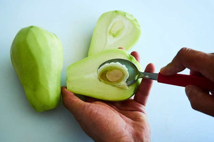 Removing Seed From Chayote