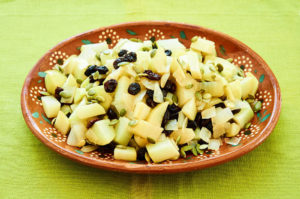 Stewed Chayote with White Wine, Raisins, Pumpkin Seeds