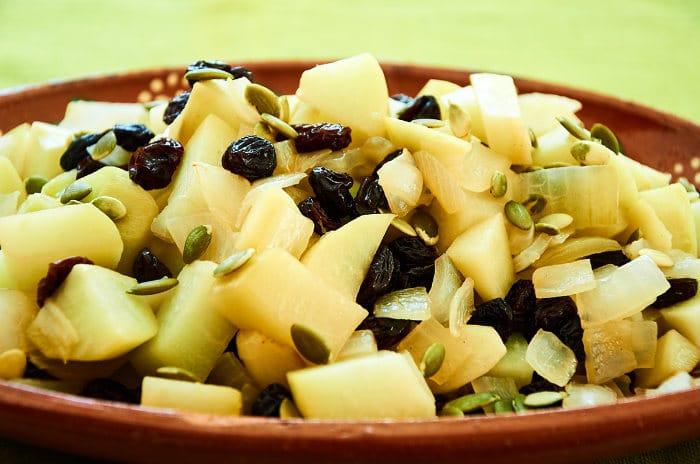 Stewed Chayote, White Onion, Raisins, Pumkpin Seeds
