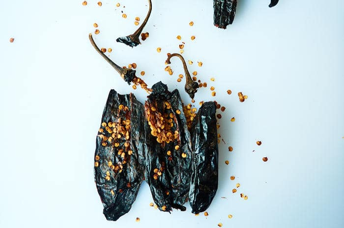 Deseeding Pasilla Chiles