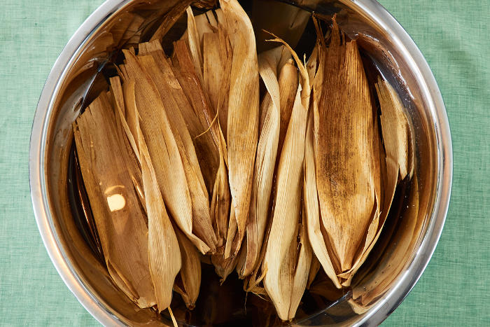 Soaking Corn Husks for Tamales