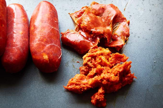 Removing Membrane from Chorizo