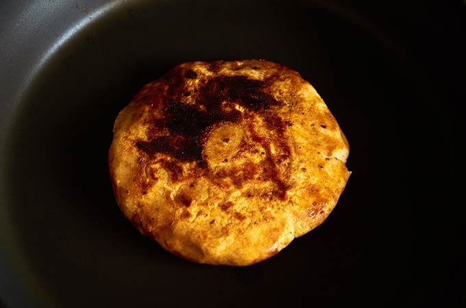 Cooking a Gordita in Frying Pan