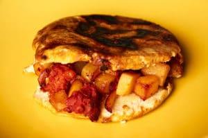 Gordita Filled with Potato Chorizo Guisado