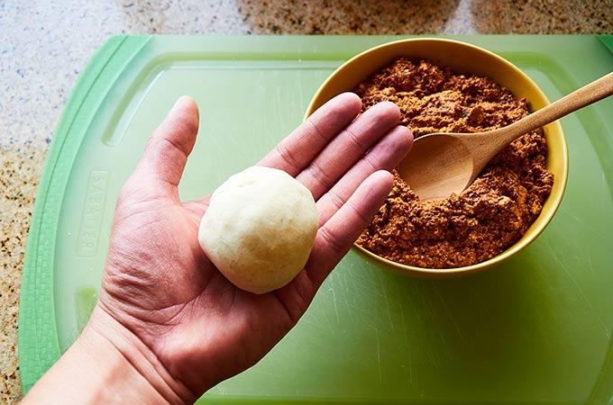 Shaping a Ball of Masa to Make Gorditas Encarceladas
