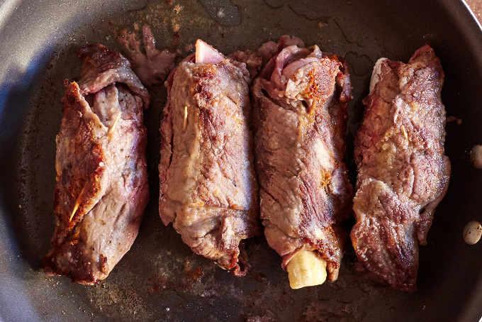 Pan Frying Beef Rolls