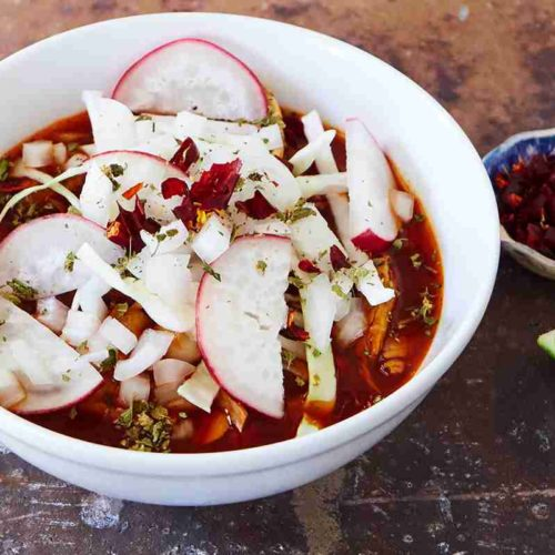 Bowl of Authentic Red Pozole