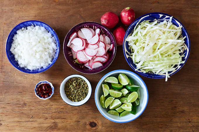 Garnishes for Red Pork Pozole