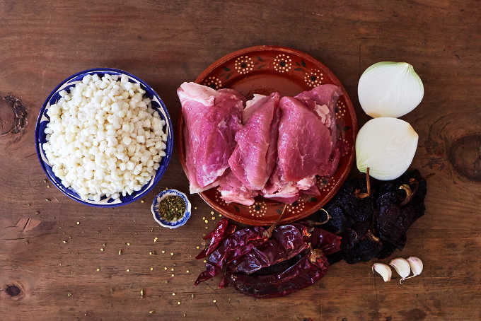 Ingredients for Red Pork Pozole