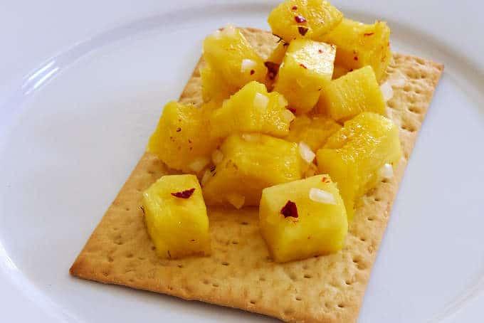 Pineapple Salad on Cracker