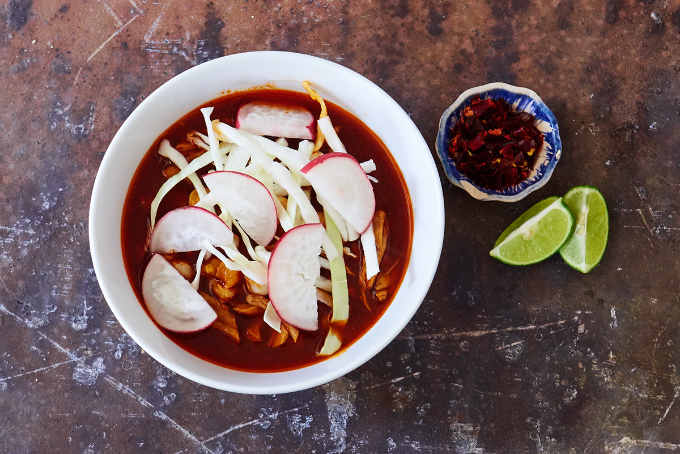 Red Pork Pozole With Cabbage and Radish