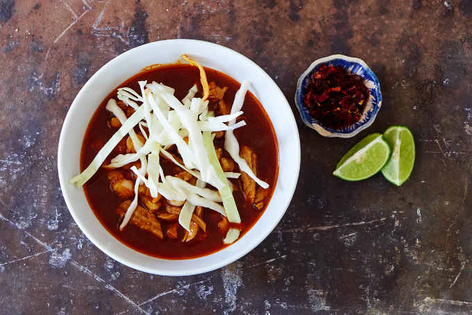 Red Pork Pozole With Cabbage