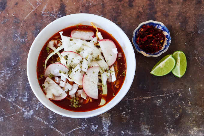 Red Pork Pozole With Garnishes 2