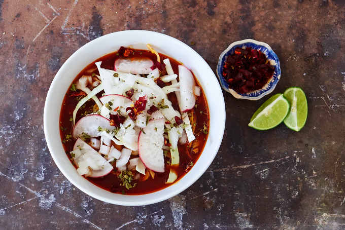 Red Pork Pozole With Garnishes 3