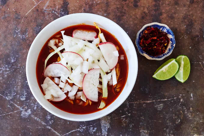 Red Pork Pozole With Garnishes