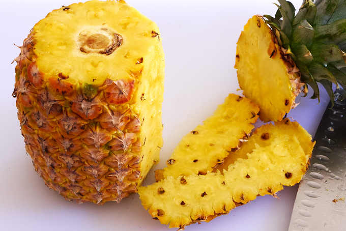 Removing Skin from Pineapple
