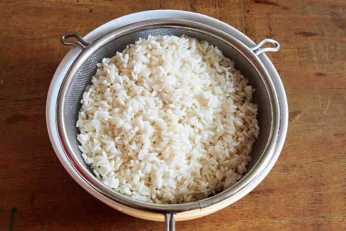 Straining Soaked White Rice