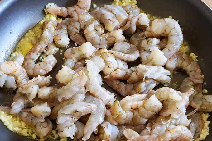 Frying Shrimp and Garlic for Shrimp Tacos
