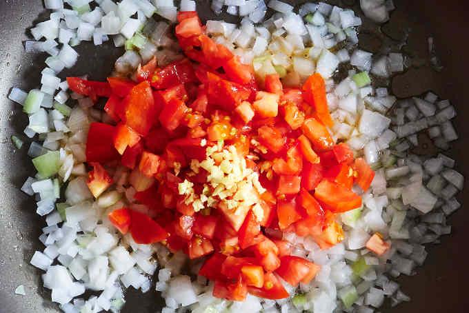 Sauteeing Onions Tomatoes Garlic