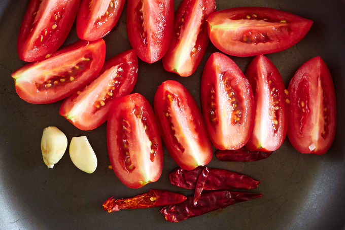 Tomatoes and Arbol Chiles in Pan
