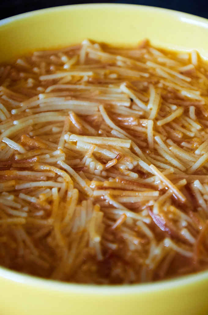 Bowl of authentic Mexican Sopa de Fideo