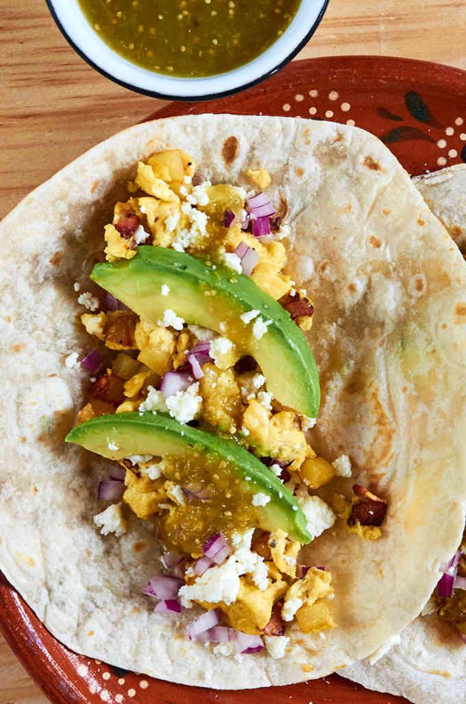 Bacon Egg Avocado Breakfast Tacos