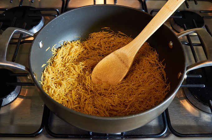 Frying Fideos in Pan