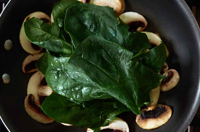 Sauteeing Spinach and Mushrooms