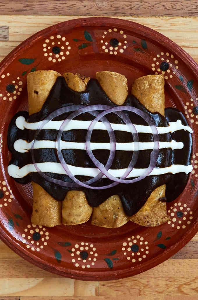 Cheese Enchiladas with Mole Enmoladas