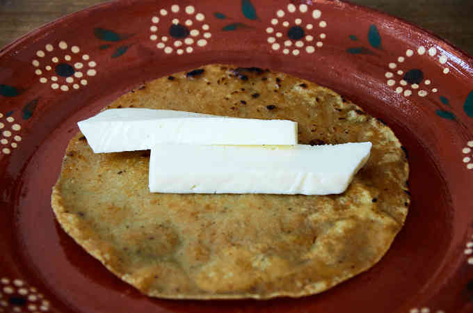Queso Fresco on Corn Tortilla
