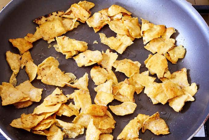 Fried Tortilla Strips in Pan