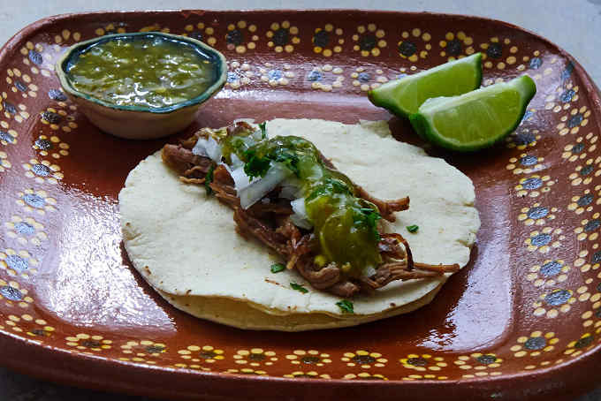 Shredded Beef Taco on Rustic Clay Plate