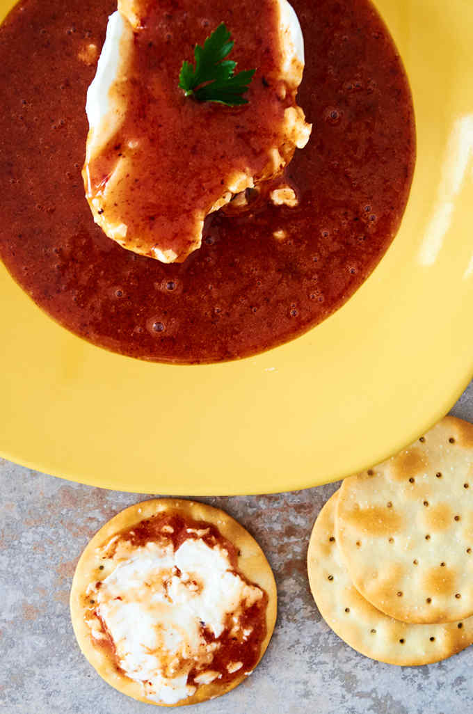 Strawberry Chipotle Cream Cheese Dip with Crackers