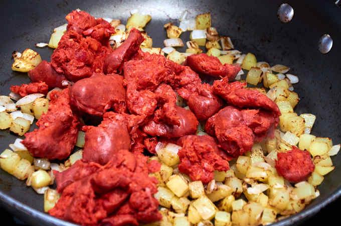 Potato, Onion, Chorizo in Frying Pan