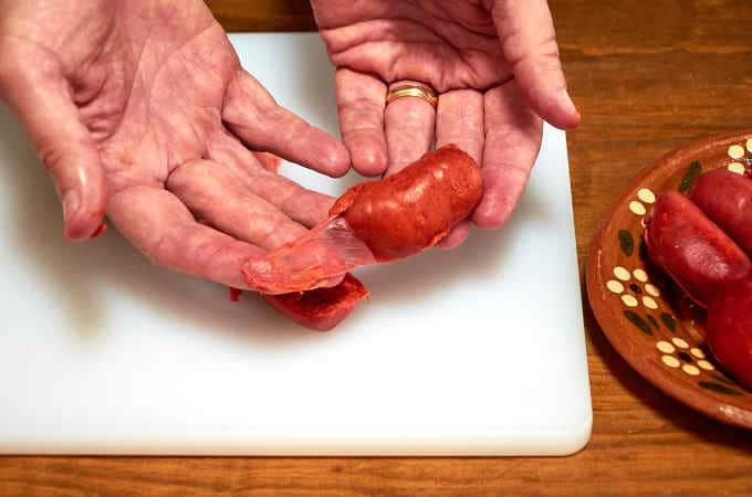 Removing Chorizo Casing