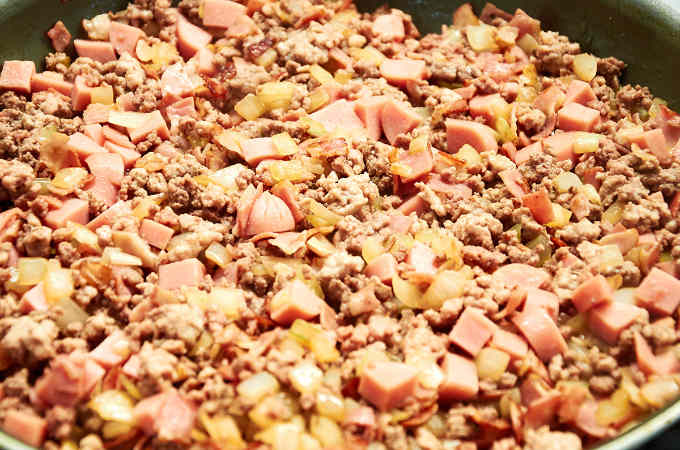 Ground Beef Pork Bacon and Hotdogs